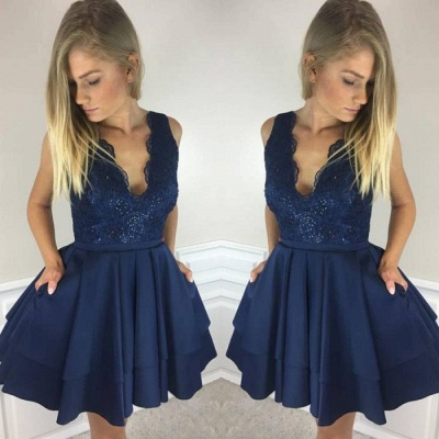 Gorgeous Sleeveless Short Homecoming Dresses | 2020 Lace Layers Short Dresses_2