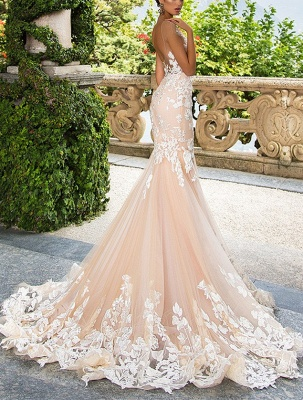 Glamorous Cap Sleeve Wedding Dress With Lace Appliques | 2020 Mermaid Bridal Gowns BA4325_3