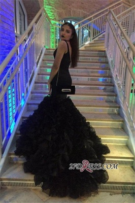 Deep-V-Neck Black Sexy Sleeveless Mermaid Prom Dress BK0_2