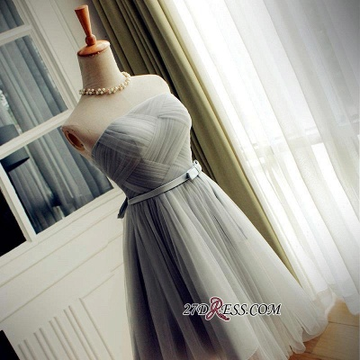2020 Short Romantic Strapless Ruched-Top With Belt Homecoming Dresses_5