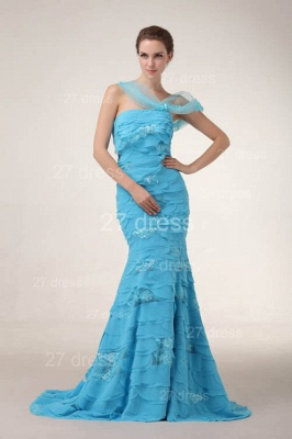 Gorgeous Blue Evening Dresses 2020 Tiered Sequined Mermaid Prom Gowns_2