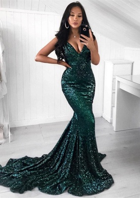 Green Sequins 2020 Prom Dress | 2020 Mermaid Evening Party Dress BC1140_2
