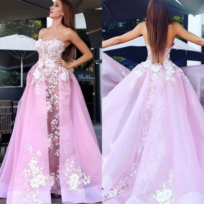 Charming Strapless Sleeveless Prom Dress   Lace Appliques 2020 Pink Evening Gowns_4
