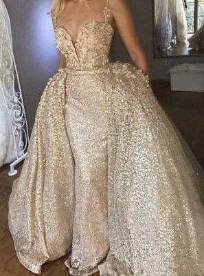 Shiny Sequins V-neck Spaghetti-straps Appliqued Prom Dresses With Detachable Skirt