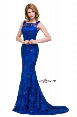 2020 Sleeveless Tulle Mermaid Royal-Blue Appliques Crystal Prom Dress_3