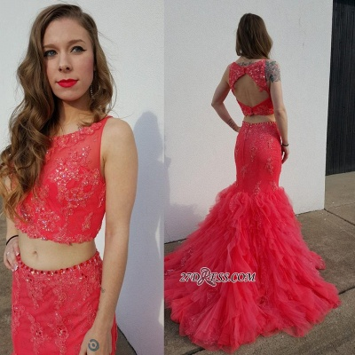 Open-Back Pieces Beadings Mermaid Appliques Tulle Two Red Prom Dress_1