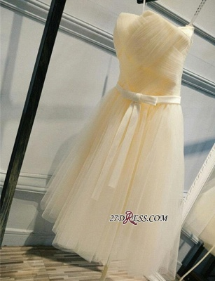 2020 Short Romantic Strapless Ruched-Top With Belt Homecoming Dresses_4