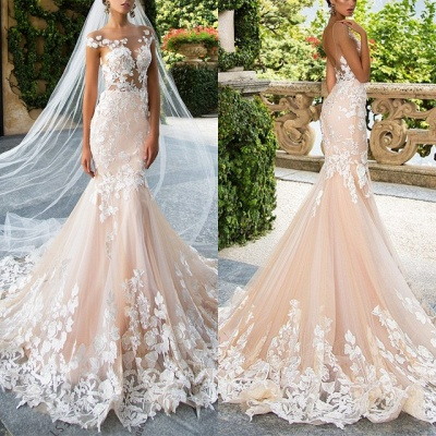 Glamorous Cap Sleeve Wedding Dress With Lace Appliques | 2020 Mermaid Bridal Gowns BA4325_4