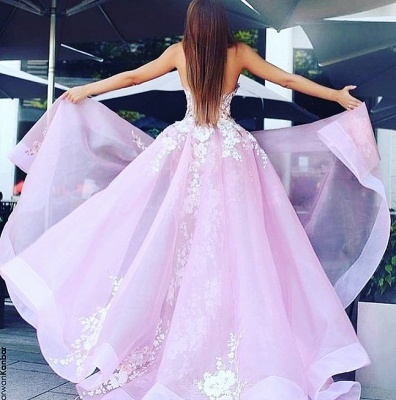 Charming Strapless Sleeveless Prom Dress   Lace Appliques 2020 Pink Evening Gowns_3
