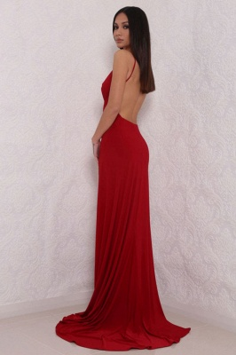 Sexy V-Neck Spaghetti Strap Prom Dress 2020 Mermaid With Split BAFRE0051_3