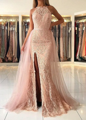 Elegant Halter Lace Evening Gowns | 2020 Ruffles Prom Dress With Slit_1
