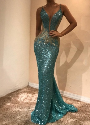 Glamorous Sleeveless Sequins Evening Dress | 2020 Mermaid Prom Dress on Sale BA9598_1