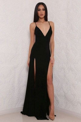 Sexy V-Neck Spaghetti Strap Prom Dress 2020 Mermaid With Split BAFRE0051_4