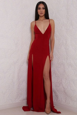 Sexy V-Neck Spaghetti Strap Prom Dress 2020 Mermaid With Split BAFRE0051_1