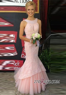 Sleeveless Pink Pearls Newest Mermaid Long Lace Prom Dress_3