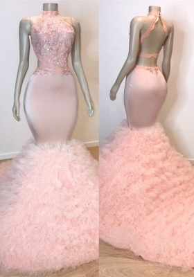 Chic Halter Pink Mermaid Prom Dresses | 2020 Lace Tulle Evening Gowns BC0983_1