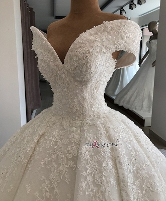 Off-the-shoulder Elegant Ball-Gown Appliques Wedding Dresses_1