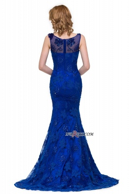 2020 Sleeveless Tulle Mermaid Royal-Blue Appliques Crystal Prom Dress_4