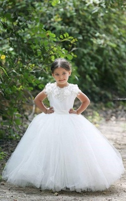 Lovely Bateau Cap Sleeve Tulle Girls Pageant Dress With Appliques Flower_1