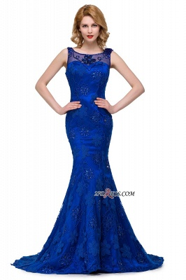 2020 Sleeveless Tulle Mermaid Royal-Blue Appliques Crystal Prom Dress_5
