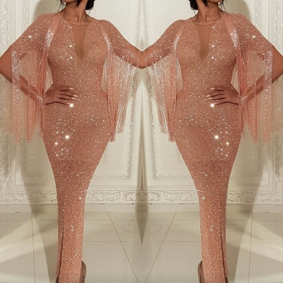 Sexy Short Sleeves Deep V Neck Floor-length Prom Dress   2020 Mermaid Sequins Tassels Evening Gown With Split_2