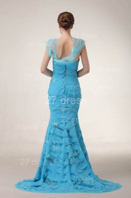 Gorgeous Blue Evening Dresses 2020 Tiered Sequined Mermaid Prom Gowns_4