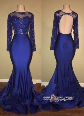 Royal blue mermaid prom dress, 2020 long evening gowns RM0_2