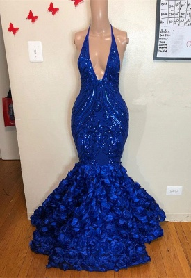 Stunning Royal Blue Mermaid Prom Dress | 2020 Long Sleeveless Evening Gowns Flowers Bottom BC1463_1