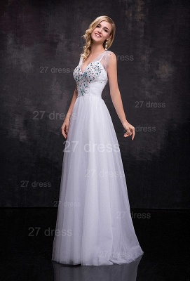 Newest Straps Tulle A-line Wedding Dress Crystals Zipper_2