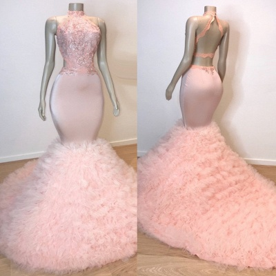 Chic Halter Pink Mermaid Prom Dresses | 2020 Lace Tulle Evening Gowns BC0983_2