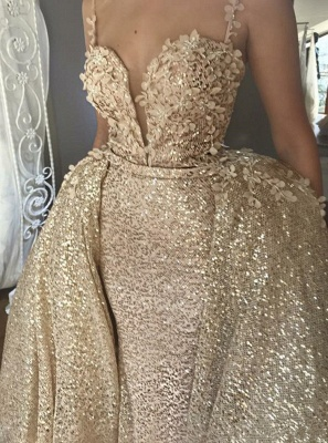 Shiny Sequins V-neck Spaghetti-straps Appliqued Prom Dresses With Detachable Skirt_2