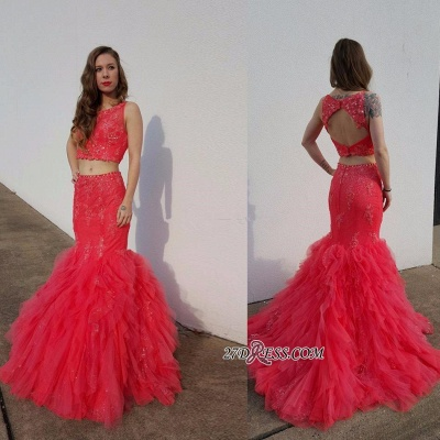 Open-Back Pieces Beadings Mermaid Appliques Tulle Two Red Prom Dress_2