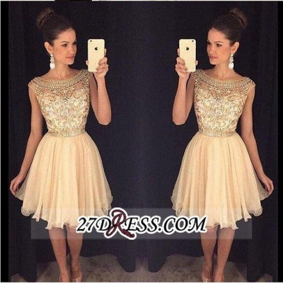 Luxury Gold Capped-Sleeves Beaded Bateau-Neck Short Homecoming Dresses AP0_1