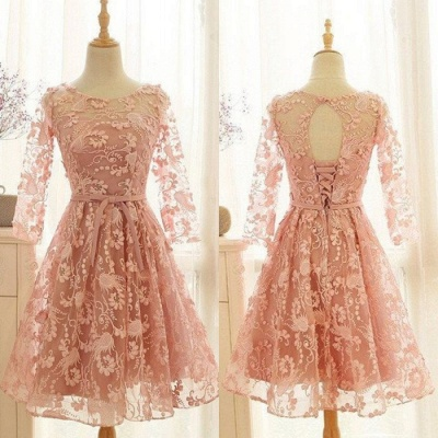 Lovely Long-Sleeve Pink Homecoming Dress | 2020 Lace Short Prom Party Gowns_4