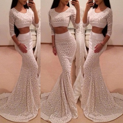 Hot 3/4 Sleeve Lace 2020 Prom Dress Two Pieces Mermaid Long_3