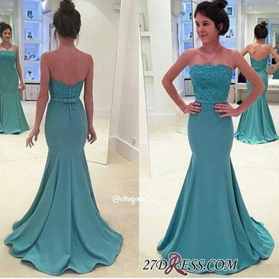 Lace Mermaid Sash Strapless Green Long Evening Gowns BA3952_1