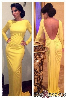 Sheath Long-Sleeve Open-Back Ruched Yellow Evening Dress_2