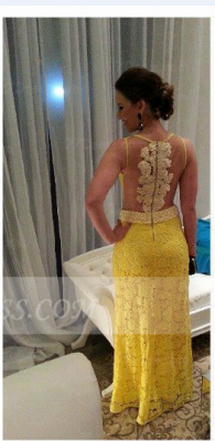 Floor-length Sheath Prom Dresses Evening Gowns with Yellow Lace Appliques Pearls 2020 Jewel Sleeveless Sequins_2