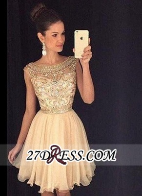 Luxury Gold Capped-Sleeves Beaded Bateau-Neck Short Homecoming Dresses AP0_3