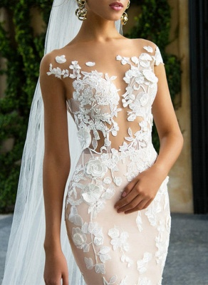 Glamorous Cap Sleeve Wedding Dress With Lace Appliques | 2020 Mermaid Bridal Gowns BA4325_2