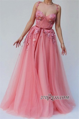 Spaghetti-straps Flower Appliques Party Dresses | Pink A-Line Sleeveless Charming Tulle Prom Dresses_2