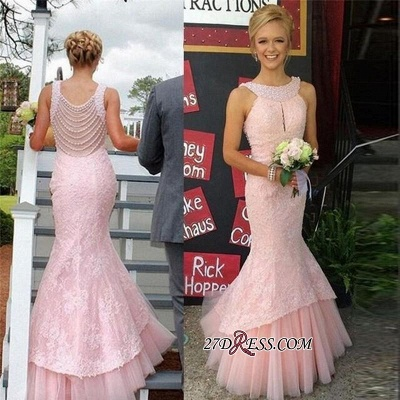 Sleeveless Pink Pearls Newest Mermaid Long Lace Prom Dress_2