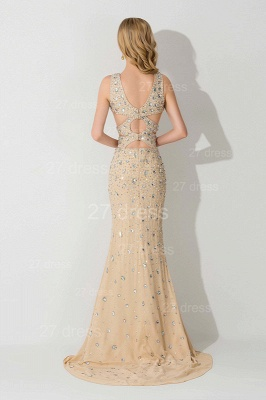 Sexy Straps Crystals Mermaid Evening Dress Front Split_3