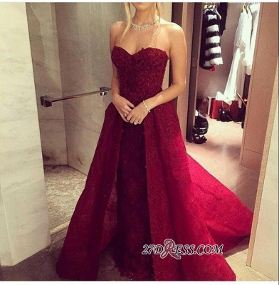 2020 Chic Sweetheart-Neck Burgundy Overskirt Long Lace-Beaded Prom Dresses LY121_1
