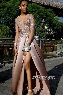 Gorgeous Long-Sleeves Applique A-Line Prom Gown | Sexy Backless Side Slit Long Prom Dress BC1767_2