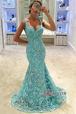 Elegant Lace Mermaid Prom Dresses | Straps Long Bridal Gowns_2
