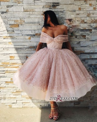 Off-The-Shoulder Sequins Short Chic Puffy Pink Short-Sleeves Prom Dresses_2