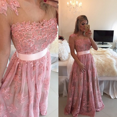 Glamorous Lace Appliques A-line Prom Dress 2020 Beadings Bowknot_2