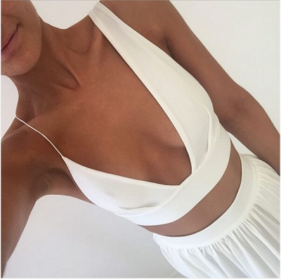 Sexy White Two Piece 2020 Prom Dress Front Split Floor-length_4