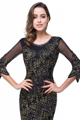 Sexy Black 3/4 Long Sleeve Mother Of the Bride Dress 2020 Mermaid With Appliques_3